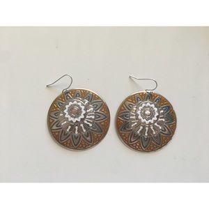 Jewelry - 3 for $25 - Orange Silver Sun Flower Earrings